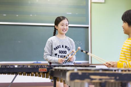 音楽室で木琴を叩く女の子と男の子の写真素材 [FYI02968871]