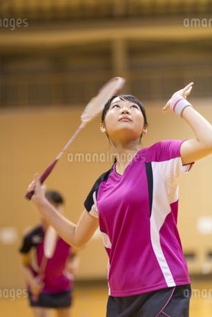 バドミントンをする女子学生の写真素材 [FYI02968902]