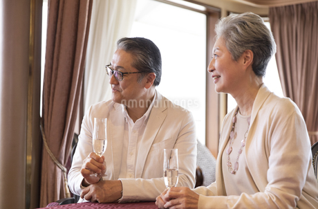 シャンパンを持ち遠くを見るシニア夫婦の写真素材 [FYI02969542]