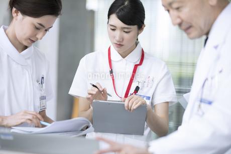 打ち合わせをする医師と看護師の写真素材 [FYI02969562]