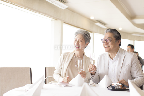 シャンパンを持ち遠くを見るシニア夫婦の写真素材 [FYI02969742]