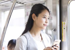 電車でスマホを持ち外の景色を見つめるビジネス女性の写真素材 [FYI02969971]