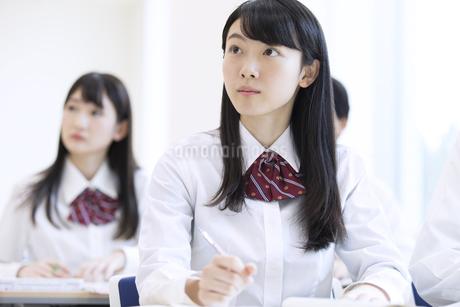 授業を受ける女子高校生の写真素材 [FYI02970025]