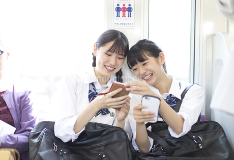 電車で友人と会話をする女子高校生たちの写真素材 [FYI02970350]