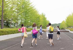 キャンパスを走る学生たちの写真素材 [FYI02970467]