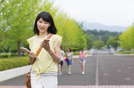 微笑みながらキャンパスを歩く女子学生の写真素材 [FYI02970844]