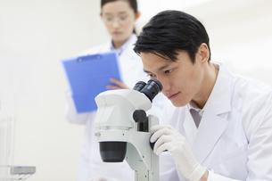 顕微鏡を覗く男性研究員の写真素材 [FYI02971279]