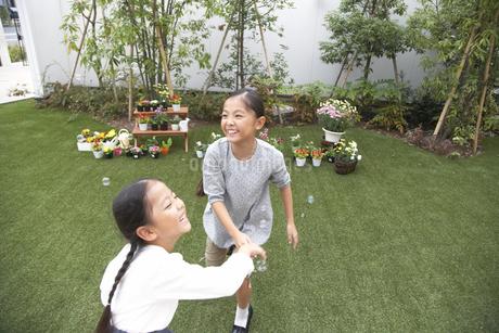 庭でシャボン玉を追いかける姉妹の写真素材 [FYI02971451]