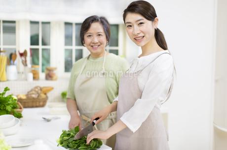 台所で料理をする母と娘の写真素材 [FYI02971863]