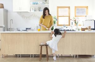 キッチンで料理の準備をする親子の写真素材 [FYI02971928]