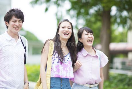 キャンパスで笑い合う学生たちの写真素材 [FYI02971968]