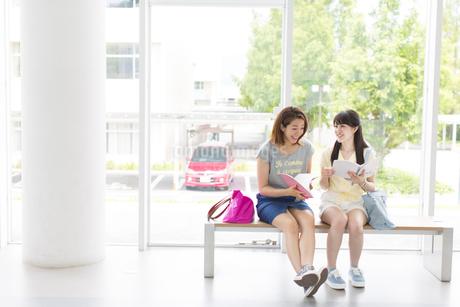 腰かけて話す3人の女子学生の写真素材 [FYI02972007]