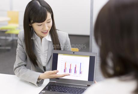 パソコンを使って接客するビジネス女性の写真素材 [FYI02972086]