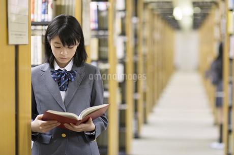 図書室で立って読書をする女子高校生の写真素材 [FYI02972191]