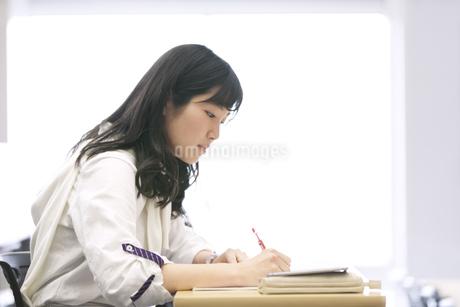 授業でノートをとる女子学生の写真素材 [FYI02972285]