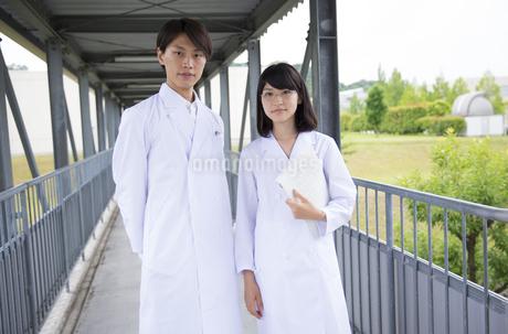 白衣を着た学生男女のポートレートの写真素材 [FYI02972336]