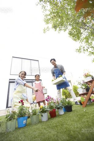 ガーデニングをする家族の写真素材 [FYI02972366]