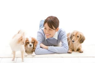 笑顔の女性と犬の写真素材 [FYI02972451]