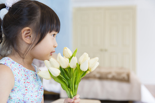 花束を持つ女の子の横顔の写真素材 [FYI02972593]