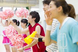 体育館で並んで観戦する学生たちの写真素材 [FYI02972703]