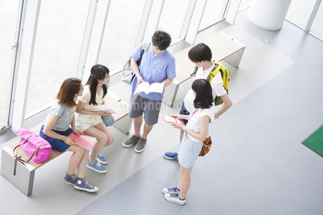 ロビーで話す学生たちの写真素材 [FYI02972734]