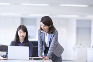 オフィスで打ち合せをするビジネス女性2人の写真素材 [FYI02972798]