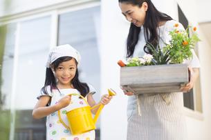 ガーデニングを楽しむ親子の写真素材 [FYI02973090]