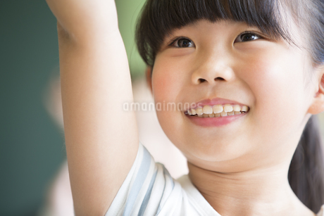 授業中に手を上げる小学生の女の子の写真素材 [FYI02973102]