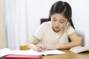 家で勉強をする女の子の写真素材 [FYI02973119]