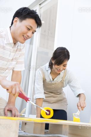 ベニヤ板にペンキを塗る男性と女性の写真素材 [FYI02973143]