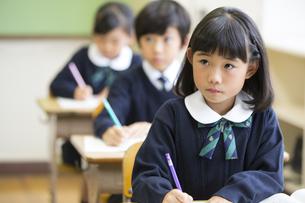教室で授業を受ける小学生の女の子の写真素材 [FYI02973253]