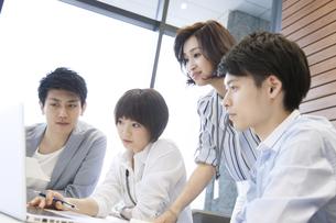 PCを見る男女4人のビジネスマンの写真素材 [FYI02973591]