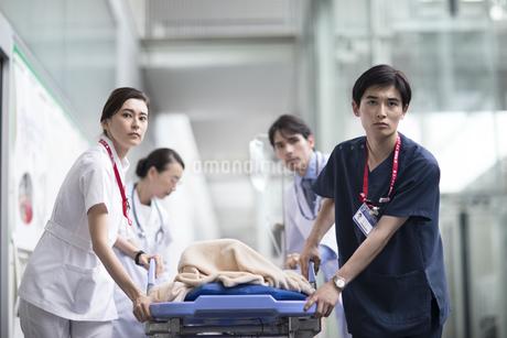 救急患者を運ぶ医師と看護師の写真素材 [FYI02973732]