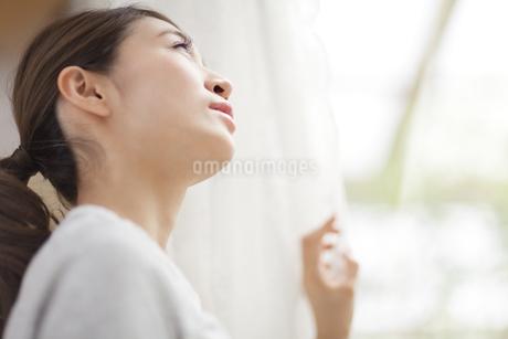 カーテンの傍で上を見上げる女性の写真素材 [FYI02973755]