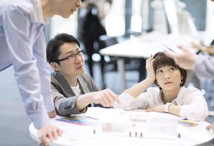 建築模型を使って打ち合せをするビジネス男女の写真素材 [FYI02973948]