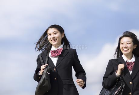 青空をバックに走る女子高校生たちの写真素材 [FYI02973987]