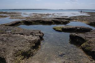 快晴の空と遠浅の潮だまりのある海岸の写真素材 [FYI02974161]