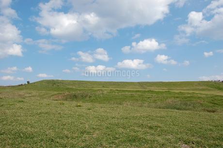 快晴の青空と緑の草原の写真素材 [FYI02974169]