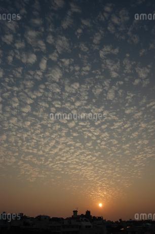 夕日の空にひつじ雲が広がっているの写真素材 [FYI02974199]