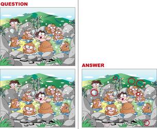 間違い探しクイズ、猿の温泉のイラスト素材 [FYI02974512]