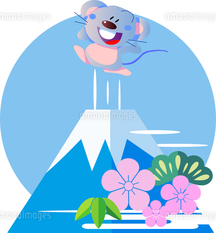 ネズミと日本の富士山のイラスト素材 [FYI02974513]