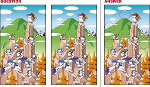 間違い探しクイズ、山に登るペンギンのイラスト素材 [FYI02974514]