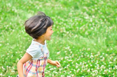 野原で走る女の子の写真素材 [FYI02974891]
