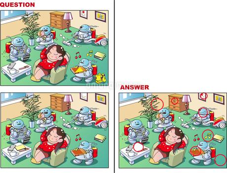 間違い探しクイズ、ホームロボットのイラスト素材 [FYI02975402]
