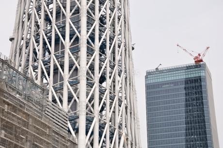 東京スカイツリーと工事中の高層ビルの写真素材 [FYI02975457]