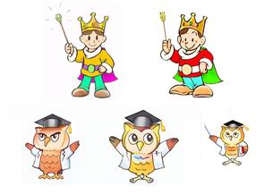 妖精王子とフクロウ教授 カラーカンプのイラスト素材 [FYI02975633]