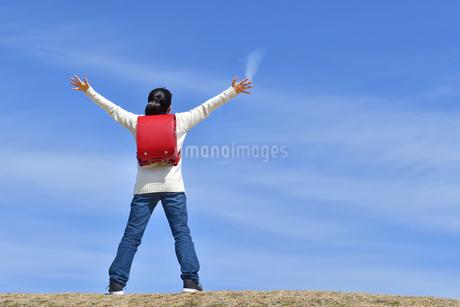 青空で両手を広げる小学生の女の子(後姿)の写真素材 [FYI02975676]