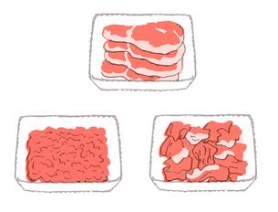 トレイに入った肉 いろいろ のイラスト素材 [FYI02975820]