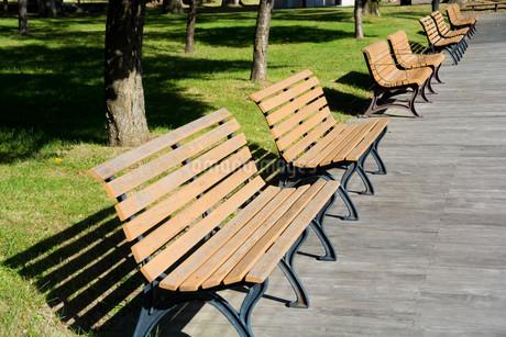 公園の木製のベンチの写真素材 [FYI02976218]
