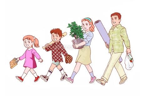 買い物帰りの家族 (初秋) カラーカンプのイラスト素材 [FYI02976359]